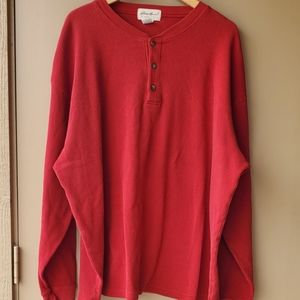 Red Eddie Bauer Henley Long Sleeve Thermal Shirt
